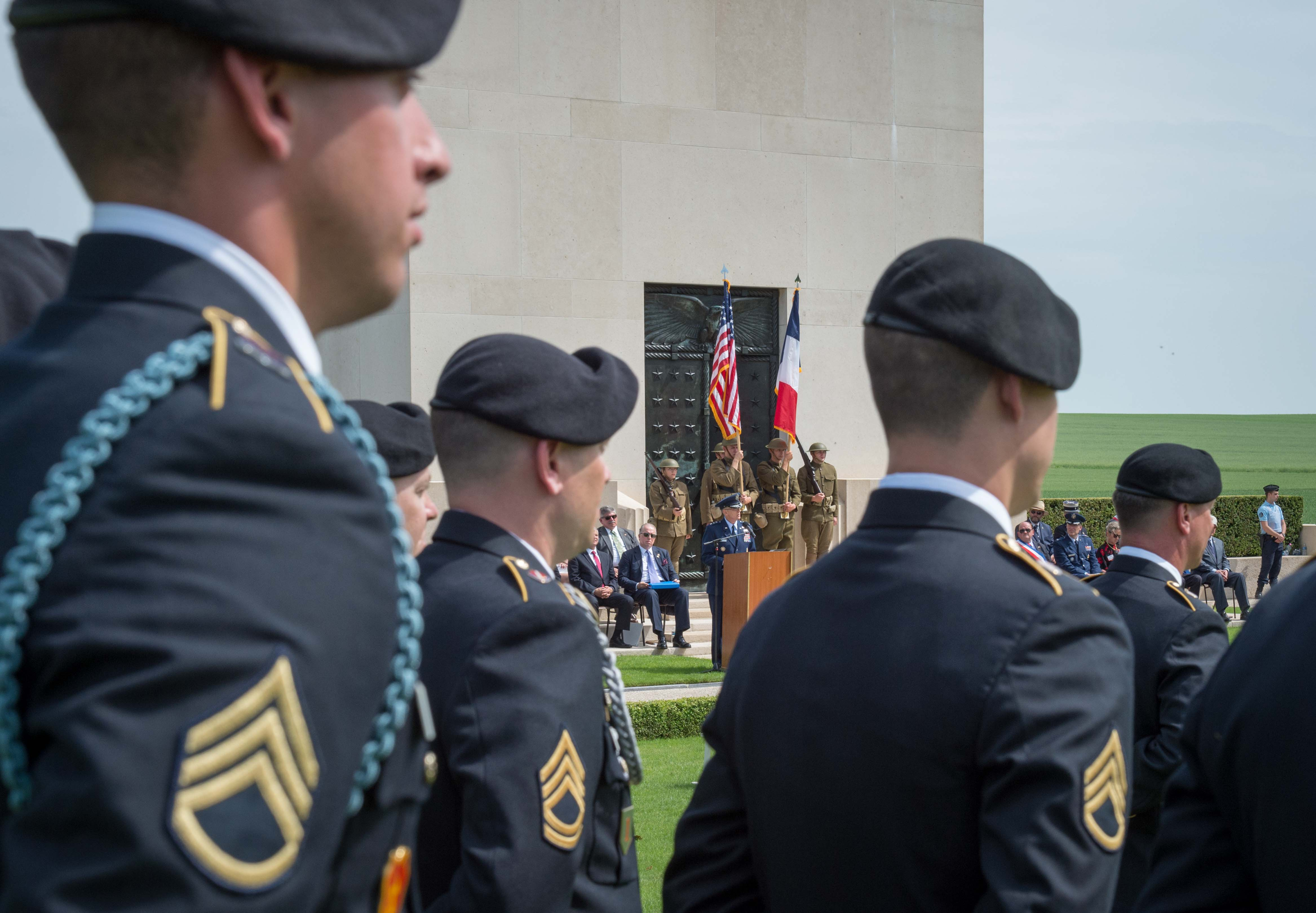 Soldiers look on during the ceremony.