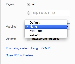 Chrome screenshot showing margin selection