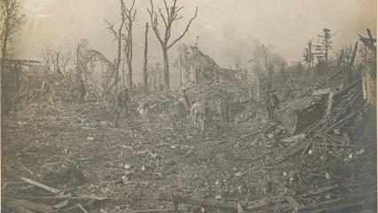 Historic photo shows destroyed town.