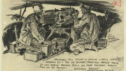 Pencil sketch shows two men firing machine guns.