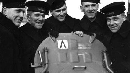 Historical image of the Sullivan brothers on board the USS Juneau.