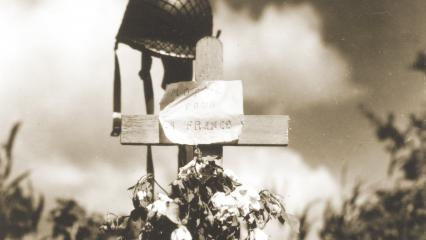 "Tribute for an American soldier erected in Carentan, France, reads ""Died for France."""