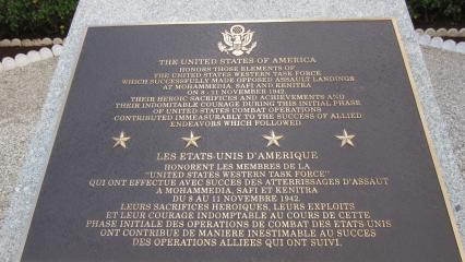 This bronze plaque mounted on granite commemorates the U.S. Western Task Force.