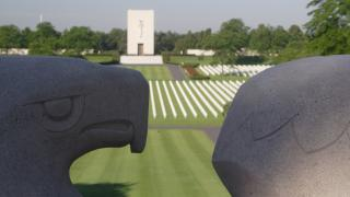 View from the eagle sculpture at Lorraine American Cemetery.