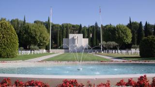 Fountain and Chapel at Rhone American Cemetery