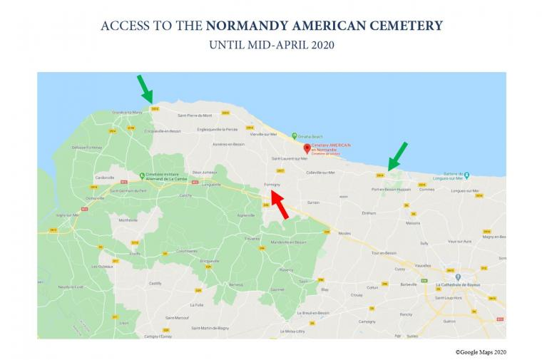 Map to access Normandy American Cemetery (March-April 2020)