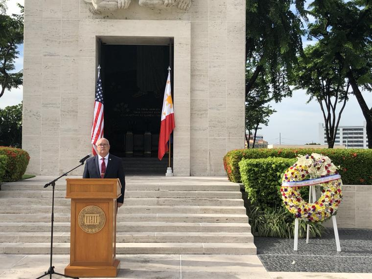 ABMC Wreath and Superintendent at Manila American Cemetery