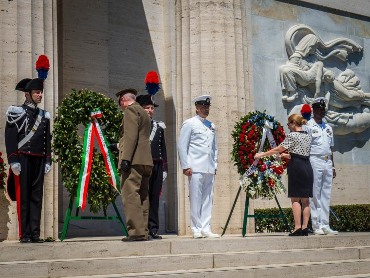 Biancafarina and Degnan pause and reflect after laying the wreath.