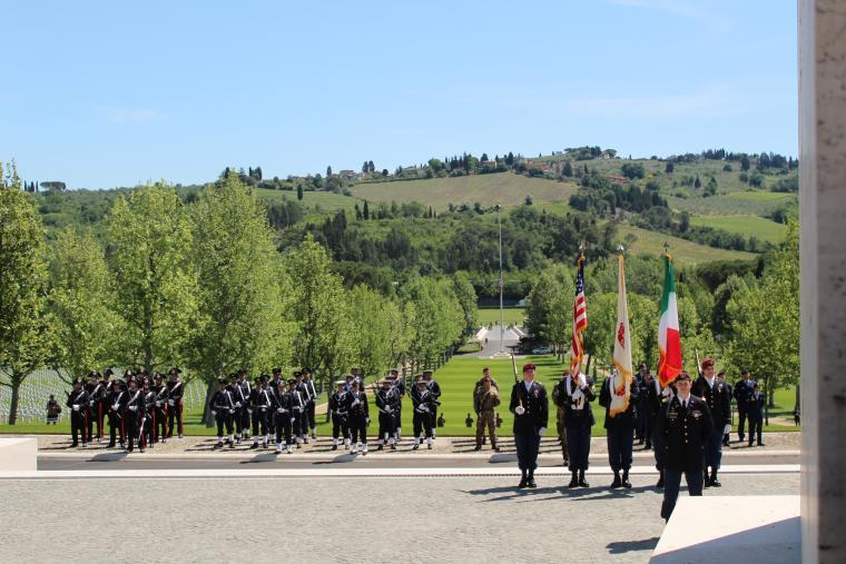 Members of the military participate in the ceremony.