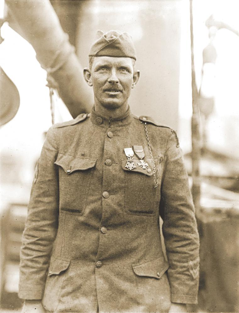 Sgt. Alvin C. York of the 82nd Division led his depleted patrol against German forces, single-handedly killing several and capturing 132.