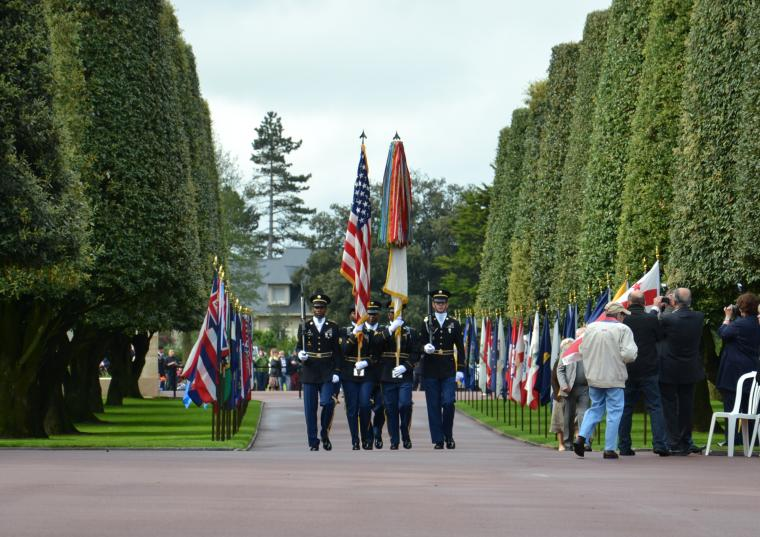 Participants in the 2012 Memorial Day ceremony at Normandy American Cemetery.