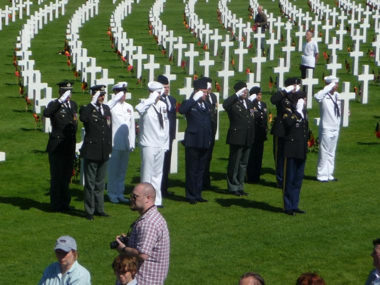 Participants in the 2012 Memorial Day ceremony at Henri-Chapelle American Cemetery.