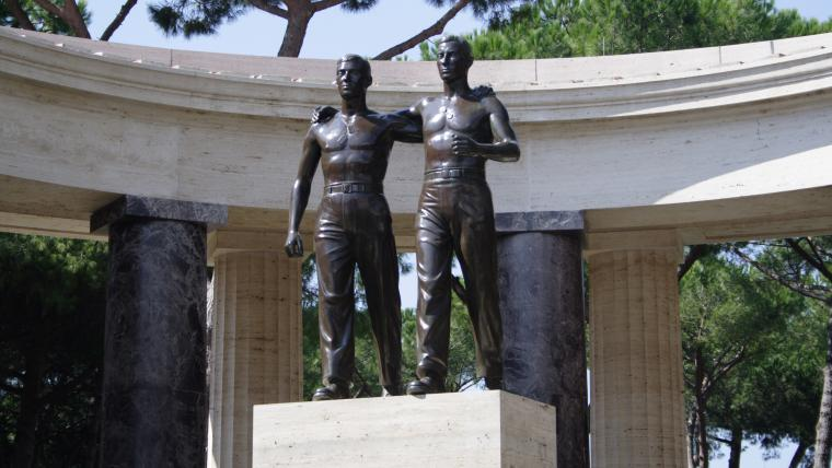 Bronze statue of two brothers in arms is located at Sicily-Rome American Cemetery.