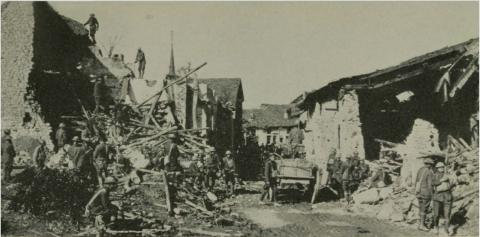 Historic image showing the destroyed town of Romange, France.
