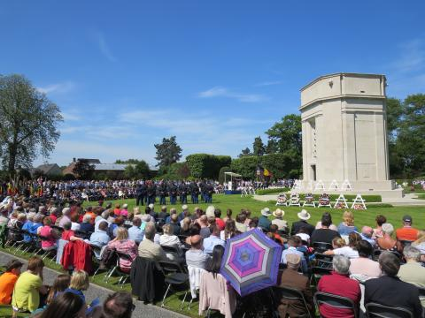 A large crowd gathered to commemorate Memorial Day at Flanders Field American Cemetery