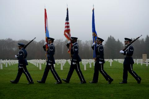 A U.S. Air Force Honor Guard marches during the ceremony.