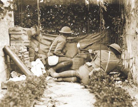Members of the 7th Machine Gun Battalion, 3rd Division, guard the Marne.