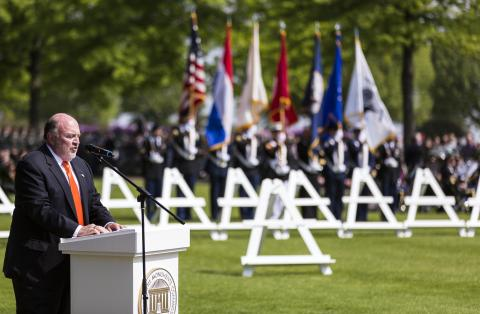 Arthur Chotin delivers remarks during the ceremony at Netherlands American Cemetery.