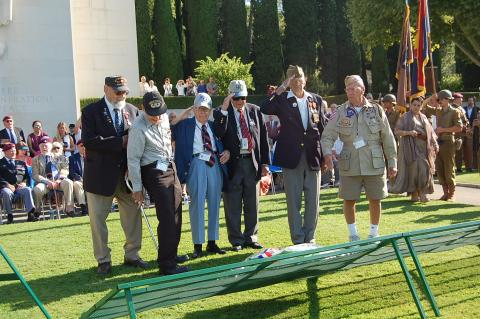 American WWII veterans laid a wreath during the ceremony.