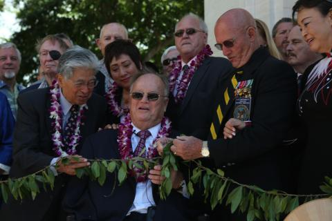 ABMC Secretary Max Cleland dedicates the new pavilions at the Honolulu Memorial.