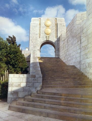 Granite archway at the Naval Monument at Gibraltar.