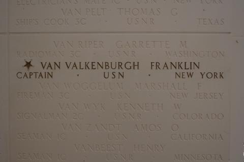 Capt. Franklin Van Valkenburgh name is gold-leafed on the Walls of the Missing at the Honolulu Memorial.
