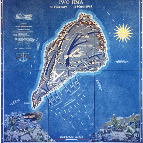 A battle map showing troop movement near Iwo Jima is at the Honolulu Memorial.