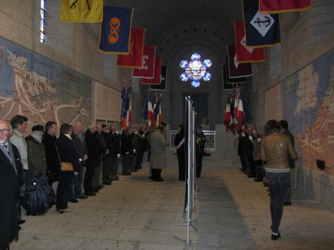 Citizens gather in the chapel for the wreath laying.