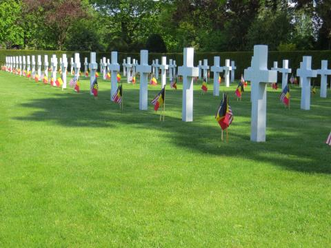 American and Belgian flags were placed at every headstone.