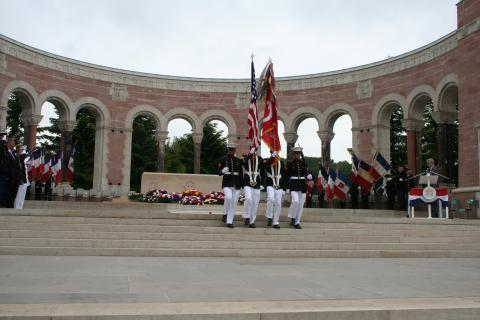 A Marine Color Guard retires the colors during the ceremony.