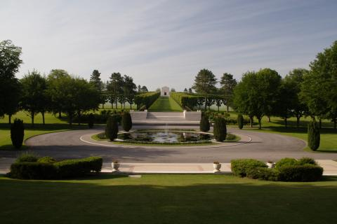 A long path leads to the chapel at Meuse-Argonne American Cemetery.