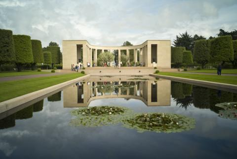 The memorial area at Normandy American Cemetery is shown in the reflecting pool.