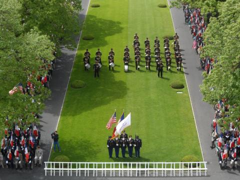 View from top of chapel, looking down at Color Guard.