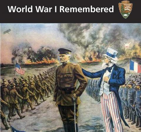 Cover includes the title and an artistic rendering of Gen. Pershing with Uncle Sam, and on both sides the men are flanked by troops.