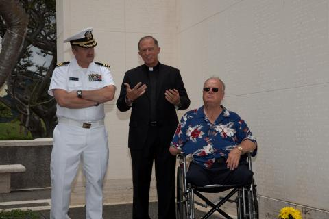 Command Chaplain John Brzek, Father Gary L. Secor, and ABMC Secretary Max Cleland at Honolulu Memorial