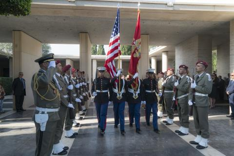 Marines serve as the Color Guard during the ceremony.