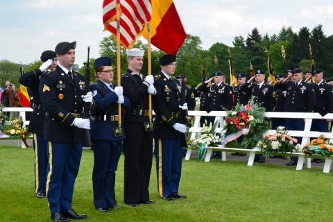 U.S. Color Guard stands at attention during the ceremony.