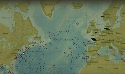 Interactive map showing location of The Battle of the Atlantic events