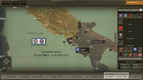 Interactive map showing location of Naples-Foggia campaign events
