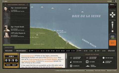 Interactive map of the naval bombardment of Pointe du Hoc""
